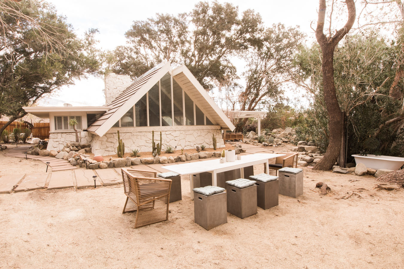 The Aframe Reveal: Outside, Living Room And Kitchen